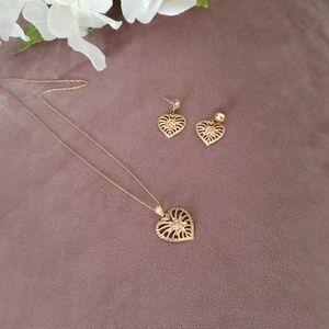 10K Gold 🌹Rose Gold Pendant Earring Set